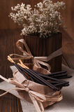 Side view chocolate sticks in a paper bag Royalty Free Stock Photography