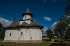 Side view of the Church of the Holy Cross in Patrauti. In Bukovina, (Bucovina), Moldavia (Moldova Stock Photography