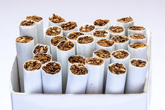 Side view  a cigarettes in box Royalty Free Stock Images