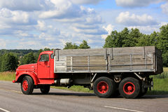 Side View of Classic Red Volvo N86 Truck stock images