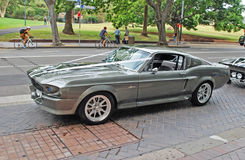 Side view of a classic silver car rented as a part of wedding cortege. Shelby 1967 Mustang GT500 model Stock Image