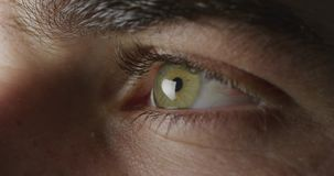 Blinking green eye. Side view close up detail of the green eye of a man looking ahead and blinking stock video footage