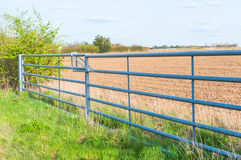 Side view of closed farmland metal gate in England Stock Photography