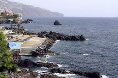 Side view of the coast of the island of Madeira. stock images