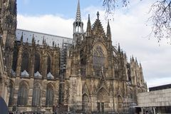 Side view of Cologne Cathedral. The south side view of Cologne Cathedral Royalty Free Stock Image