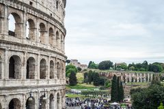 Side view of The Colosseum in Rome, Italy Stock Images