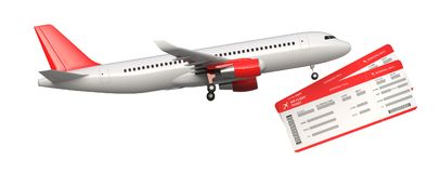 Side view of commercial airplane, airliner with two airline, air flight tickets . Passenger plane take Off, 3D rendering. Isolated on white background. With vector illustration