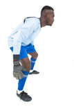 Side view of a concentrated goal keeper Stock Photography