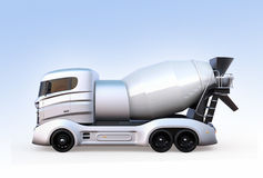 Side view of concrete mixer truck isolated on light blue background Stock Photo