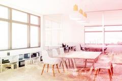 White meeting room interior corner, double Stock Images
