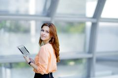 Side view.confident business woman with digital tablet. Photo with place for text Stock Images