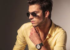 Side view of cool fashion man's face Royalty Free Stock Image