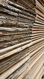 Side view of  corrugated cardboard pile in a factory Stock Photo