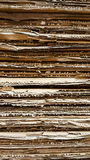 Side view of  corrugated cardboard pile in a factory Royalty Free Stock Images