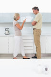 Side view of a couple arguing in kitchen Royalty Free Stock Photo