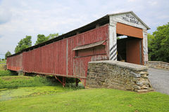 Side view of covered Herrs Mill bridge Stock Photos