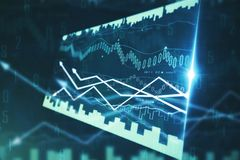 Finance and trade concept. Side view of creative forex chart screen on blurry background. Finance and trade concept. 3D Rendering Royalty Free Stock Photos