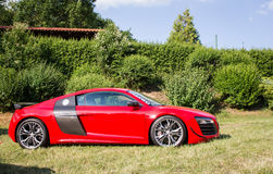 Side view of customized red Audi R8 Royalty Free Stock Image