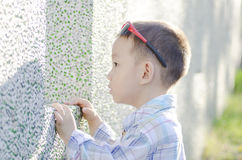 Side view of cute little boy Royalty Free Stock Photography