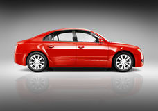 Side View of 3D Red Sedan Car Royalty Free Stock Images