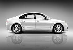 Side View of 3D Sedan Car Stock Photos