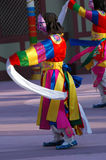 Side view of dancer with pink mask. Traditional Lunar New Year's performance in South Korea Royalty Free Stock Photo