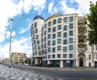A side view of the Dancing House Stock Photography
