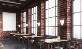 Side view of dark brick bar. Side view of bar interior with stools, tables and large vertical poster on brick wall. Concept of pub culture. 3d rendering. Mock up Royalty Free Stock Image