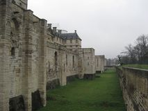 A side view of a deep moat at the Chateau de Vincennes in Paris.  royalty free stock photos