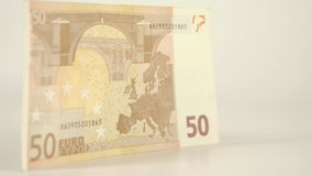 The side view detail of the 50 Euro bill stock video footage