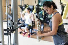 Determined young woman exercising cable rope triceps extension. Side view of a determined young women exercising cable rope triceps extension during upper-body stock images
