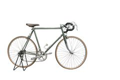 Side view Di cut green Old bicycle on white background,transport stock photos