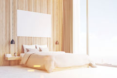 Side view of a double bed, wood, toned Stock Images
