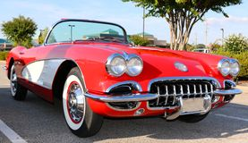 Side view of early 1950's model red antique Corvette Stock Photography