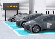Side view of electric cars parking in car sharing only parking lot stock illustration