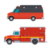Side view emergency vehicle. Type II and Type I emergency vehicles on a van type and on a truck type chassis. Side view emergency vehicle. Isolated vector Royalty Free Stock Photos