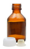 Side view of empty amber glass pharmacy bottle Royalty Free Stock Image