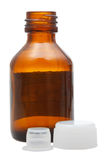 Side view of empty brown glass pharmacy bottle Stock Images