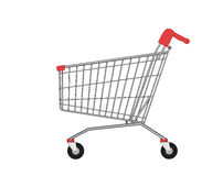 Side view of empty shopping cart Royalty Free Stock Photo