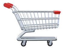 Side view empty shopping cart  on white background. Side view empty shopping cart. 3D render  on white background Stock Photography