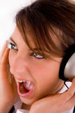 Side view of executive enjoying music Royalty Free Stock Photography