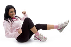 Side view of exercising woman Stock Photography