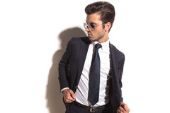 Side view of a fashion business man looking  back Stock Image