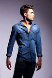 Side view of a fashion young man Royalty Free Stock Photo