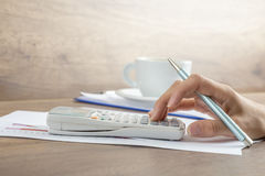 Side view of female accountant Royalty Free Stock Photos