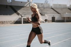 Woman sprinter running on track in a stadium Royalty Free Stock Image