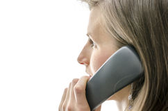 Side view of female call center employee Royalty Free Stock Photos