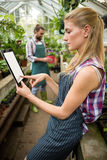 Side view of female gardener using digital tablet at greenhouse Stock Photos