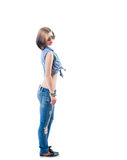 Side view female jeans isolated Stock Image