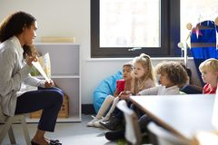 Side view of a female kindergarten teacher sitting on a chair showing a book to children in a classroom stock image